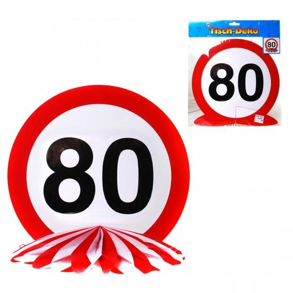 Tischdeko 80 Verkehrsschild, Schild auf Wabenfächer, ca. 25 cm