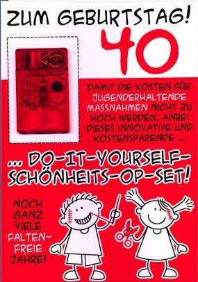 Grußkarte DIN A4: 40. Geburtstag, mit Schönheits-OP-Set