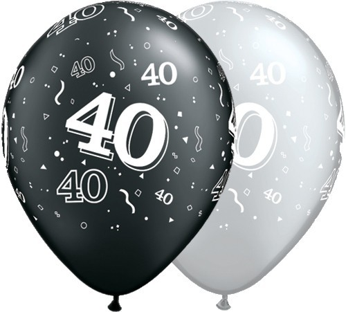 5 Zahlenballons 40 Qualatex, silber/schwarz, ca. 30 cm