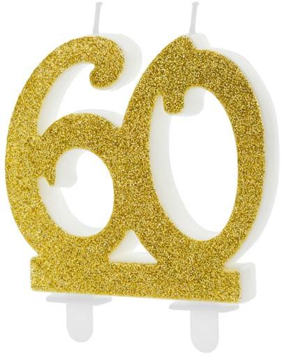 Zahlenkerze 60 gold, ca. 8 cm