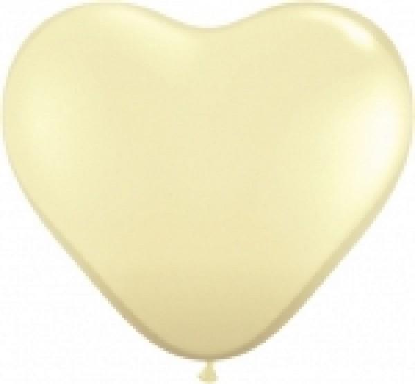Herzballons, ca. 30 cm, champagner