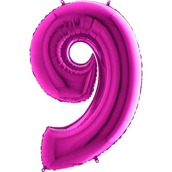 Folienballon Zahl 9, ca. 100 cm, pink
