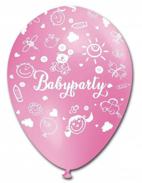 5 Ballons Babyparty, fuchsia & rosa, ca. 30 cm