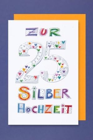 Grußkarte: Zur 25 Silberhochzeit, bunt