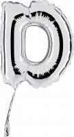 Folienballon Buchstabe D, silber, ca. 35 cm, für Luftbefüllung