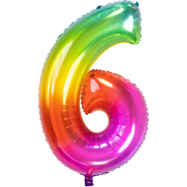 Folienballon Zahl 6, ca. 86 cm, Yummy Gummy