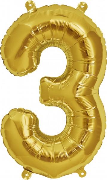 Folienballon Zahl 3, ca. 35 cm, GOLD, für Luftbefüllung