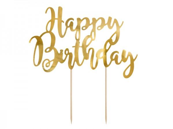 Cake Topper Tortendeko Happy Birthday gold, ca. 22,5 cm