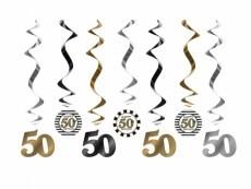 Swirl-Deko 50 gold/silber/schwarz, 7 St.