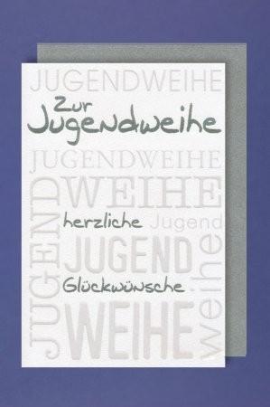 Grußkarte Zur Jugendweihe, silber/weiß