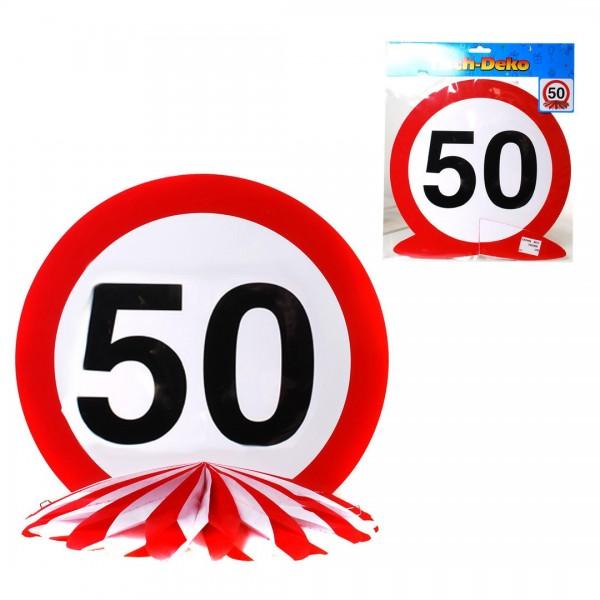 Tischdeko 50 Verkehrsschild, Schild auf Wabenfächer, ca. 25 cm