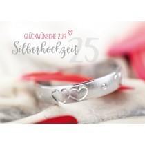 Grußkarte: Glückwünsche zur Silberhochzeit - Ring mit Herzen