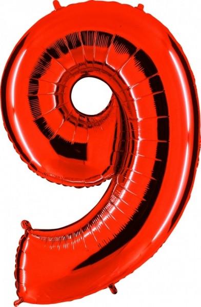 Folienballon Zahl 9, ca. 100 cm, rot