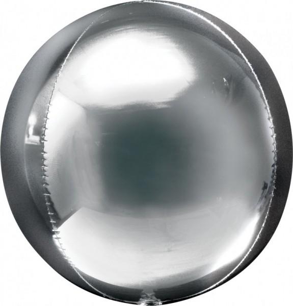 Folienballon Ball/Kugel Orbz , ca. 40 cm, silber